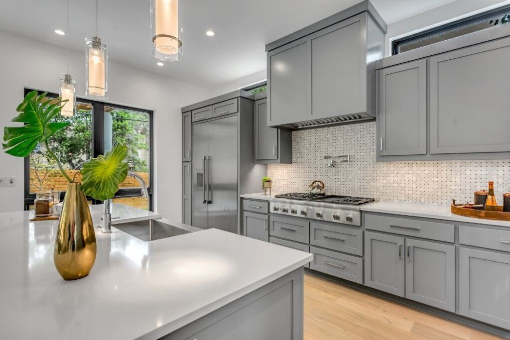 contemporary kitchen with grey cabinets