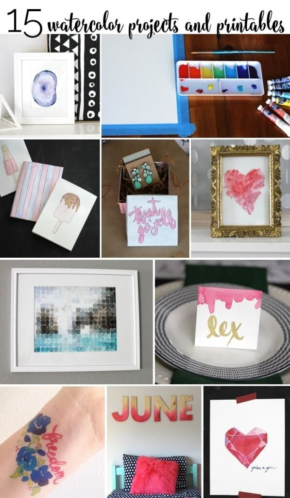 15 watercolor projects and printables