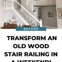 Transform an old stair railing from wood spindles to iron balusters