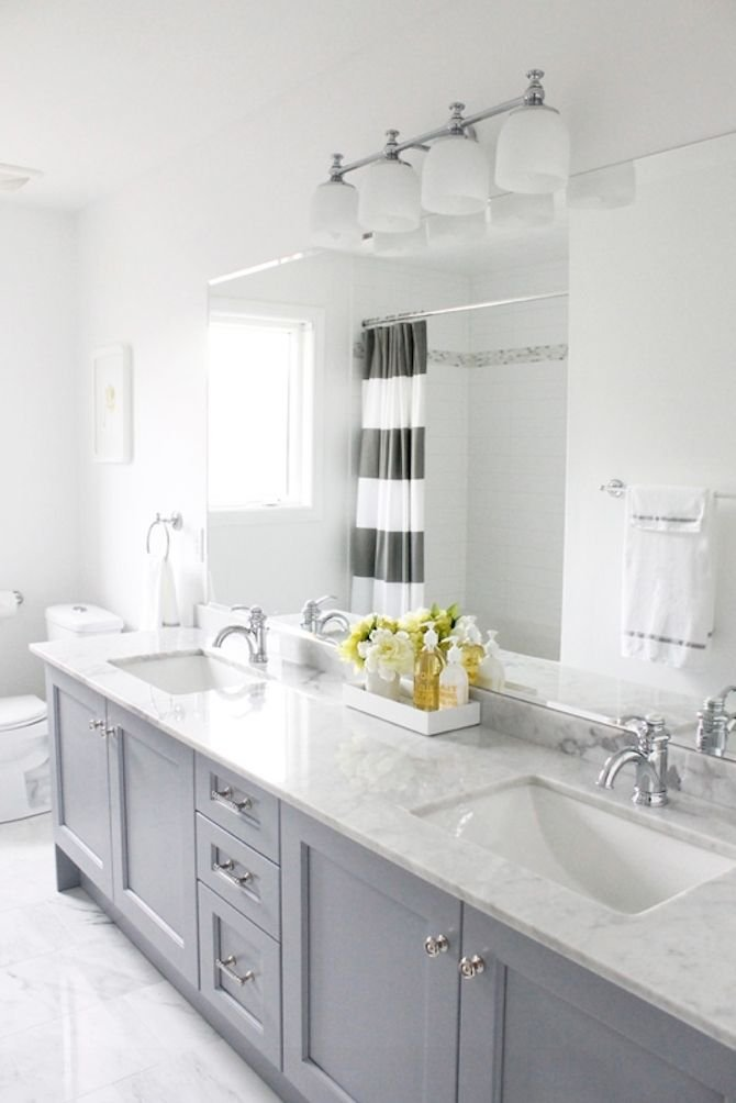 grey cabinets in the bathroom