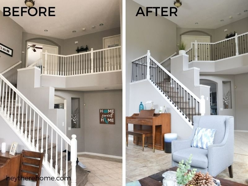 replacing wood spindles with iron stair balusters