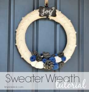 Sweater and Felt Winter wreath tutorial from TinySidekick.com